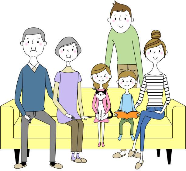 ソファでリラックスする家族 - 母娘 笑顔 日本人点のイラスト素材/クリップアート素材/マンガ素材/アイコン素材