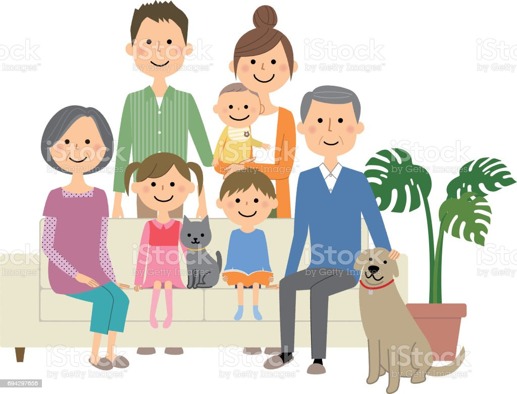 Family to relax on sofa vector art illustration