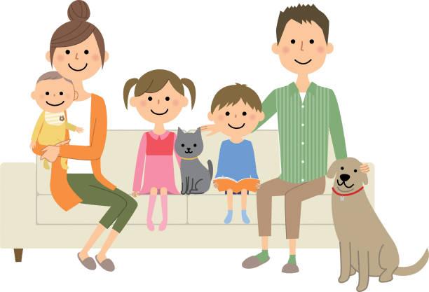 ソファでリラックスして家族 - 母娘 笑顔 日本人点のイラスト素材/クリップアート素材/マンガ素材/アイコン素材