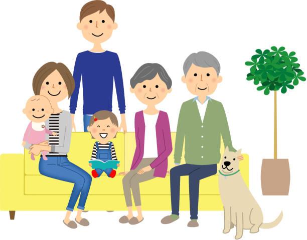 ソファでリラックスして家族 - 夫婦点のイラスト素材/クリップアート素材/マンガ素材/アイコン素材