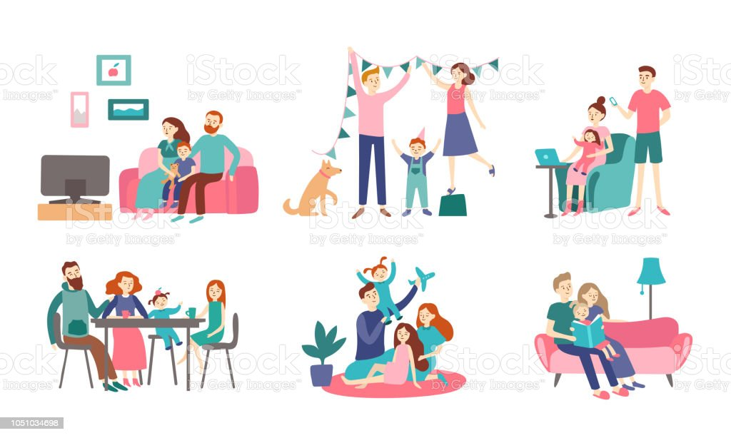 Familia junta en casa. Joven pareja pasa tiempo con los niños, leer el libro y decoración de la casa. Figura plana de vector de gusto - ilustración de arte vectorial