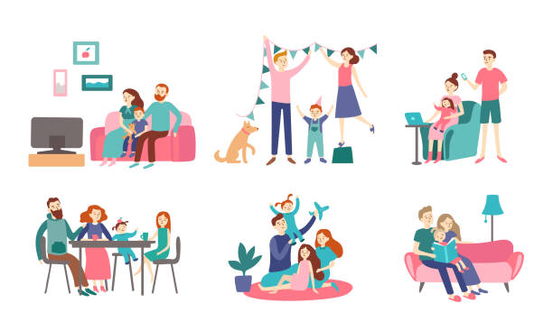 family together at home. young couple spend time with kids, read book and decorating house. homeliness vector flat illustration - family stock illustrations