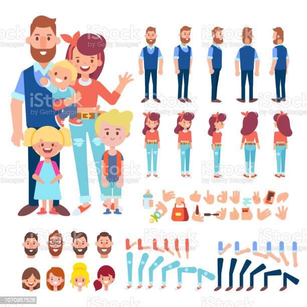 Family together parents young man and woman three kids vector cartoon vector id1070957528?b=1&k=6&m=1070957528&s=612x612&h=prm4gzsiedzhfso0e7qsiwj8ikaly5tqiaon73hfsce=