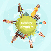 Family tree poster with five genealogical level  of generation from grandparents to newborns  flat cartoon vector illustration