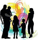 A vector silhouette illustration of a young family including a mother, father, son, daughter, and baby in front of a colourful swirl design.