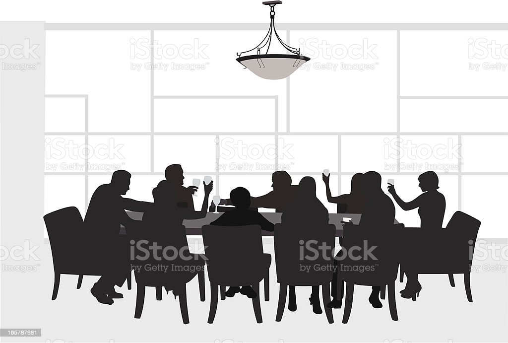 Family Together Vector Silhouette vector art illustration