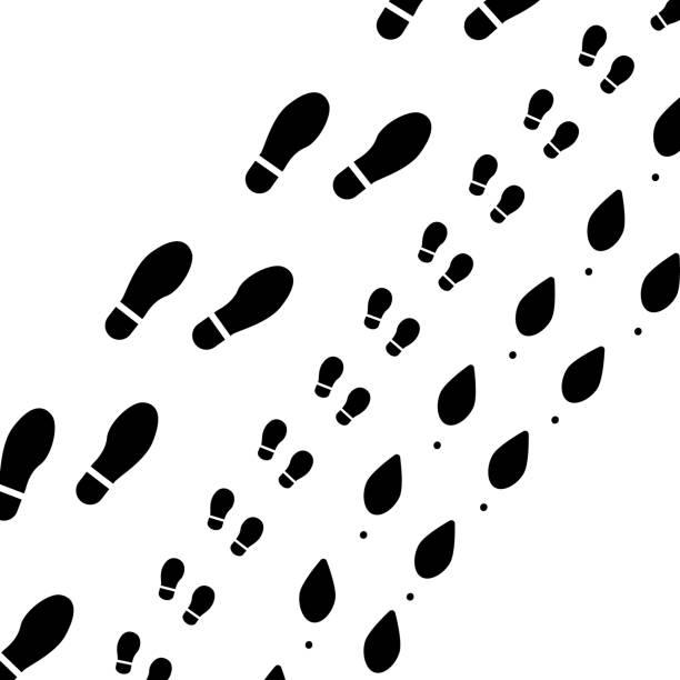 familie spuren silhouette - eleganter schuh stock-grafiken, -clipart, -cartoons und -symbole