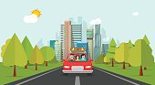 Family travel by car, flat cartoon style happy family with kid travelling together via automobile vector