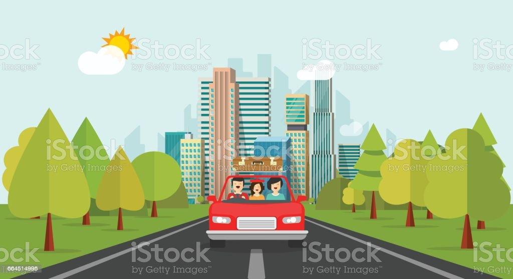 Viaje en familia en coche, plano estilo familia feliz con niños viajando juntos vía vector automóvil - ilustración de arte vectorial