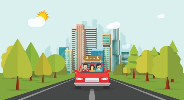 Voyages familiaux en voiture, héhé de style cartoon plat avec enfant voyageant ensemble par l'intermédiaire de vector automobile - Illustration vectorielle