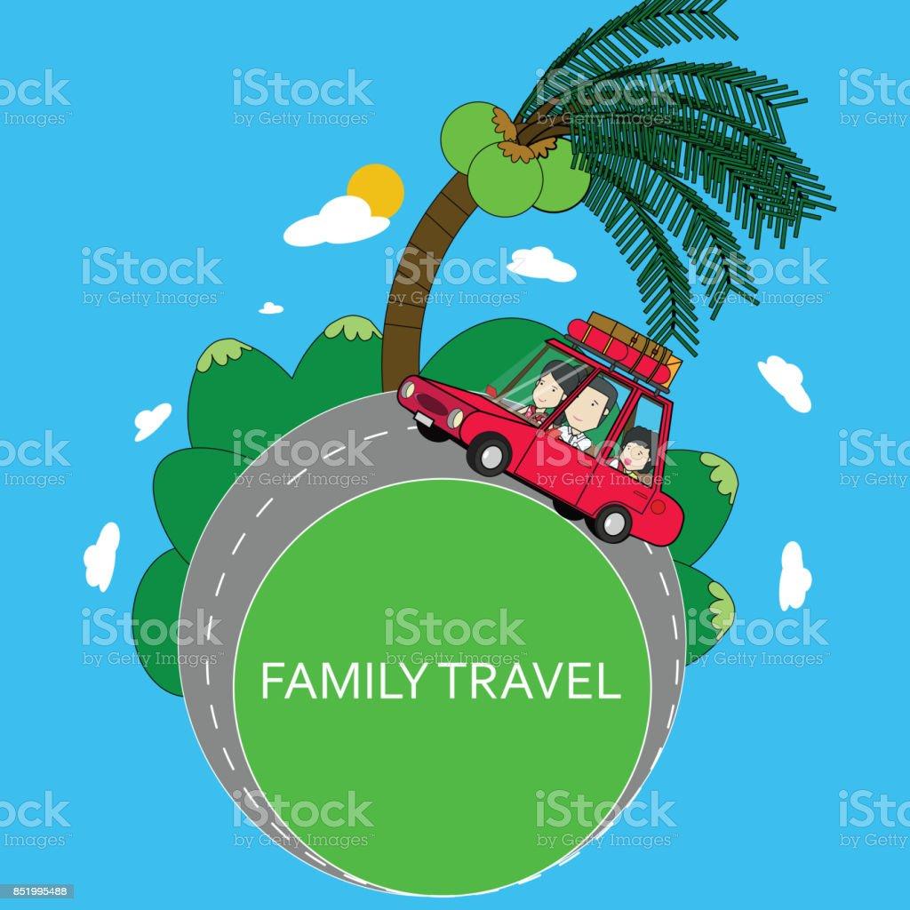 Family travel by car summer vacations. vector art illustration