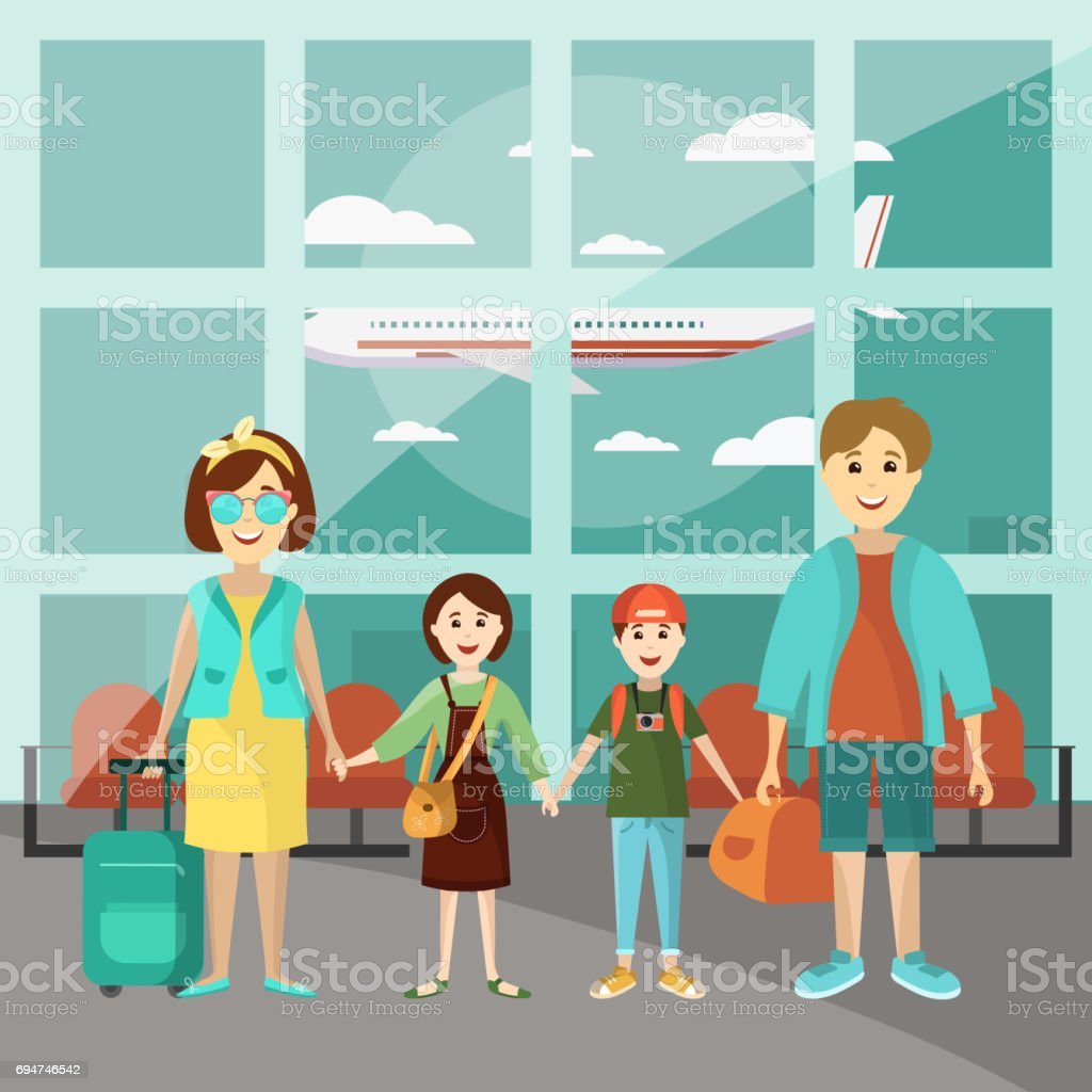 Family travel concept vector poster. Parents with two kids at the airport going to vacation. Cartoon people characters in flat style design. Airport interior vector art illustration