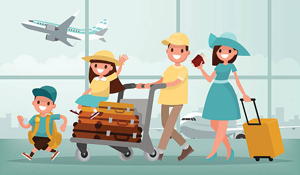 ilustraciones, imágenes clip art, dibujos animados e iconos de stock de family travel. father mother, son and daughter at the airport. - viajes familiares