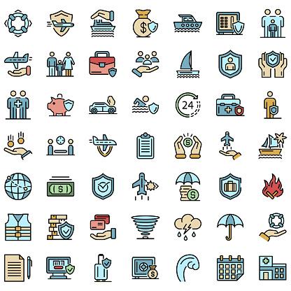 Family travel insurance icons vector flat