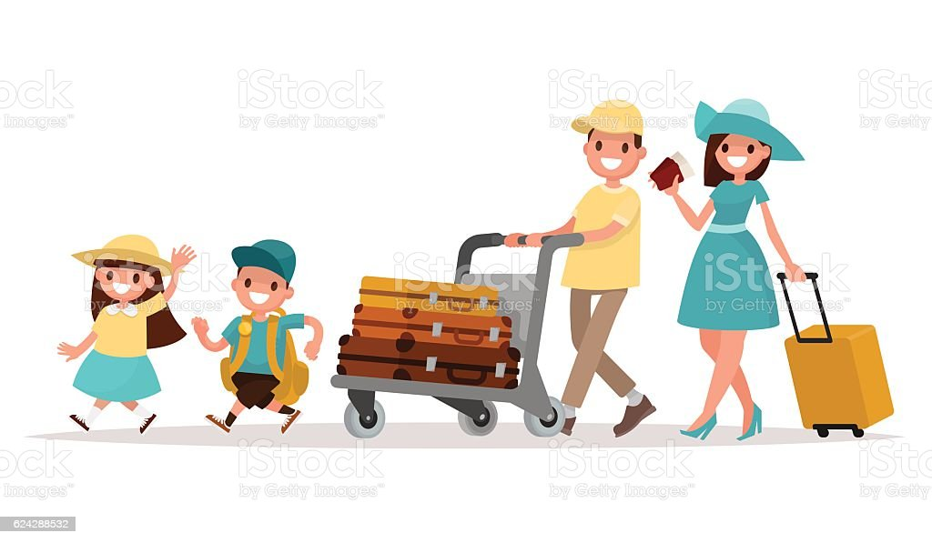 Family travel. Parents and children at the airport fly away - Illustration vectorielle