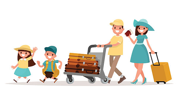 ilustraciones, imágenes clip art, dibujos animados e iconos de stock de family travel. parents and children at the airport fly away - viajes familiares