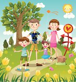 family travel time,vector illustration