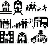 Vectored family travel based around air travel. Based on 1970s AIGA icon designed for the US Department of Transport. This figure is based on the standard sized stick figure rather than the compact version. The format can be blown up to any size without loss of quality.