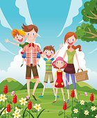 A happy family travel outside,five people family.vector illustraiton.
