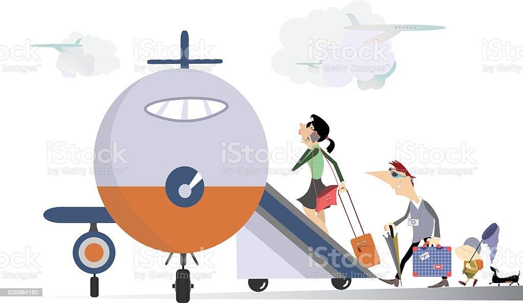 Family travel vector art illustration