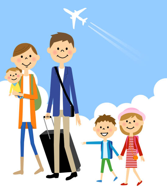 Family Travel Vector Art Illustration