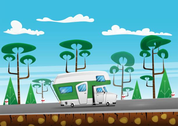 Family traveler truck on summer on forest area road. Family traveler truck on summer on forest area road. Camper on road trip. Cartoon vector illustration rv interior stock illustrations