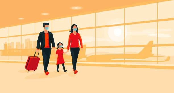illustrazioni stock, clip art, cartoni animati e icone di tendenza di family traveler wearing face masks with luggage walking at airport gate terminal - hand on glass covid