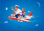 vector illustration of happy family traveling by airplane