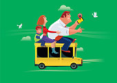 vector illustration of happy family traveling by car