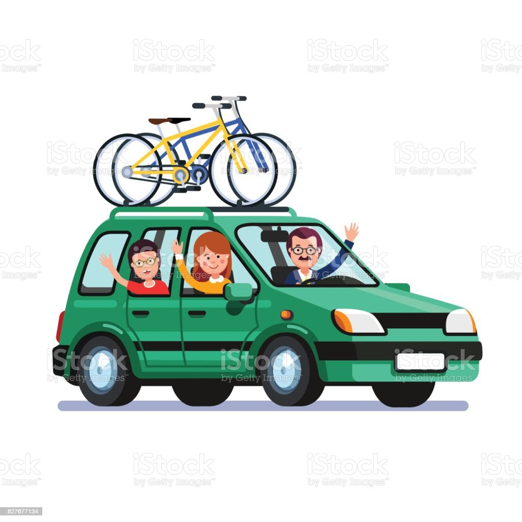 Family traveling by car with bicycles on the roof