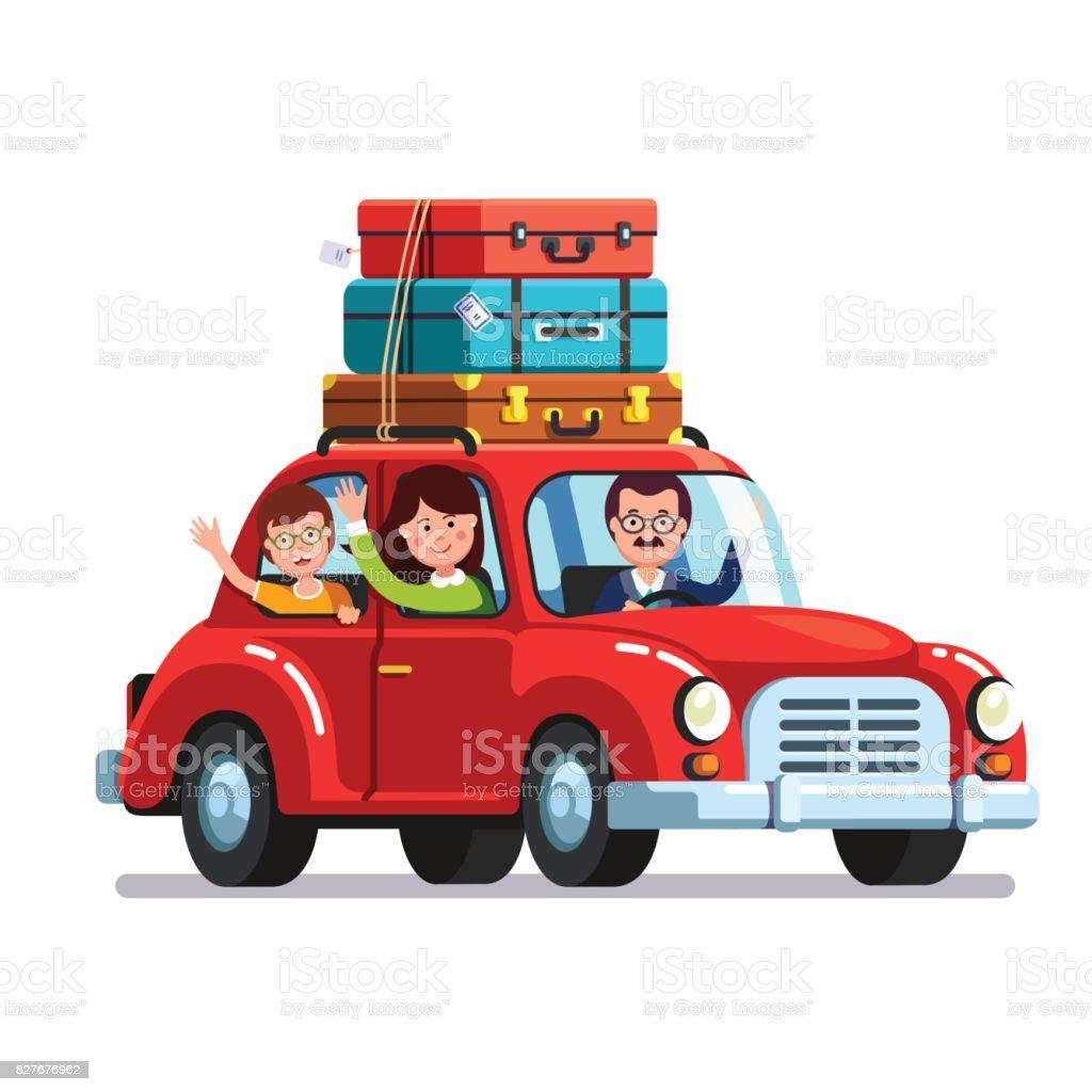 Famille voyageant en voiture avec des sacs de bagages sur le toit - clipart vectoriel de Adulte libre de droits