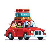 Happy family traveling by car with a luggage bags on the roof. Mother, father and son on vacation road trip together. Flat style vector illustration isolated on white background.