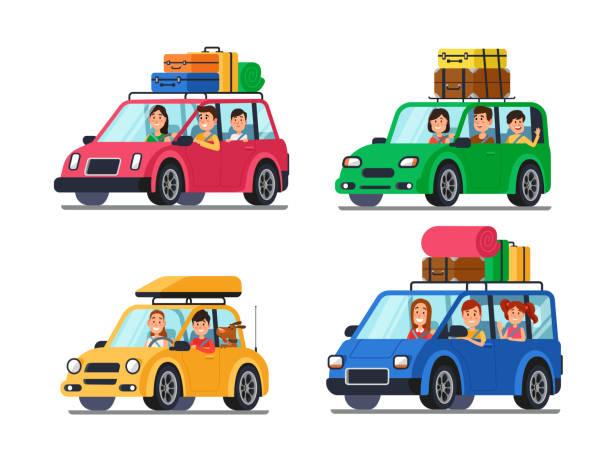 illustrations, cliparts, dessins animés et icônes de famille voyageant des voitures. heureux les gens voyagent en voiture. voyage de vacances avec la mère et le père en illustration vectorielle de minivan dessin animé - vacances en famille