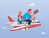 vector illustration of happy family riding airplane…