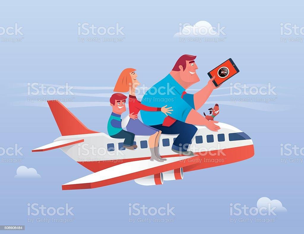 Família viajando - ilustração de arte em vetor
