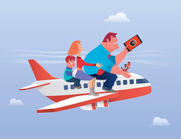 illustrations, cliparts, dessins animés et icônes de les voyages en famille - vacances en famille