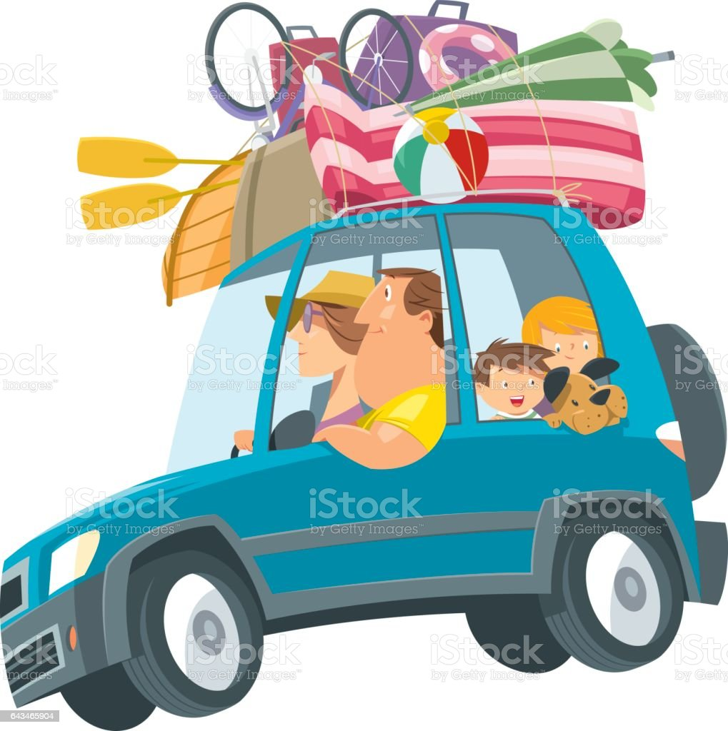 Family traveling with car vector art illustration