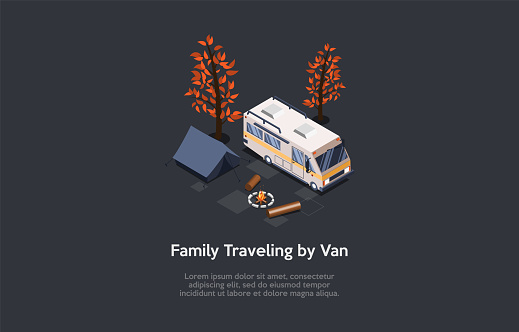 Family Travelling By Van, Camping Recreation Conceptual Composition. Vector Illustration, Cartoon 3D Style. Isometric Design With Writings And Dark Background. Big Lorry, Tent, Fireplace And Trees
