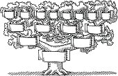 Hand-drawn vector drawing of a Family Tree with Blank Banners. Black-and-White sketch on a transparent background (.eps-file). Included files are EPS (v10) and Hi-Res JPG.