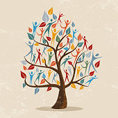 Family tree concept illustration with people icon