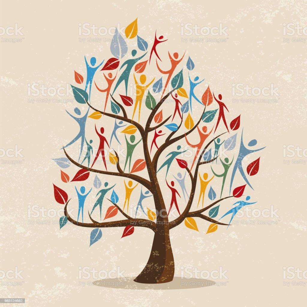 Ilustración de concepto de árbol genealógico con icono de personas - ilustración de arte vectorial
