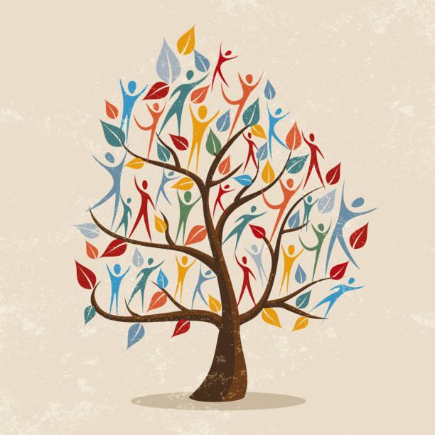 stammbaum-konzept-illustration mit personen-symbol - stammbäume stock-grafiken, -clipart, -cartoons und -symbole