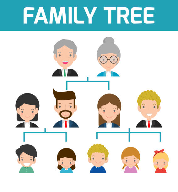 family tree, diagram of members on a genealogical tree, isolated on white background, cartoon vector illustration of family tree, big famoly vector illustration - old man face silhouettes stock illustrations, clip art, cartoons, & icons