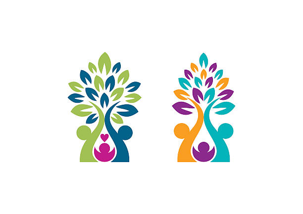 가계도 로고, 육성 나무 기호까지 아이콘크기 벡터 디자인식 - 가정 물건 실루엣 stock illustrations