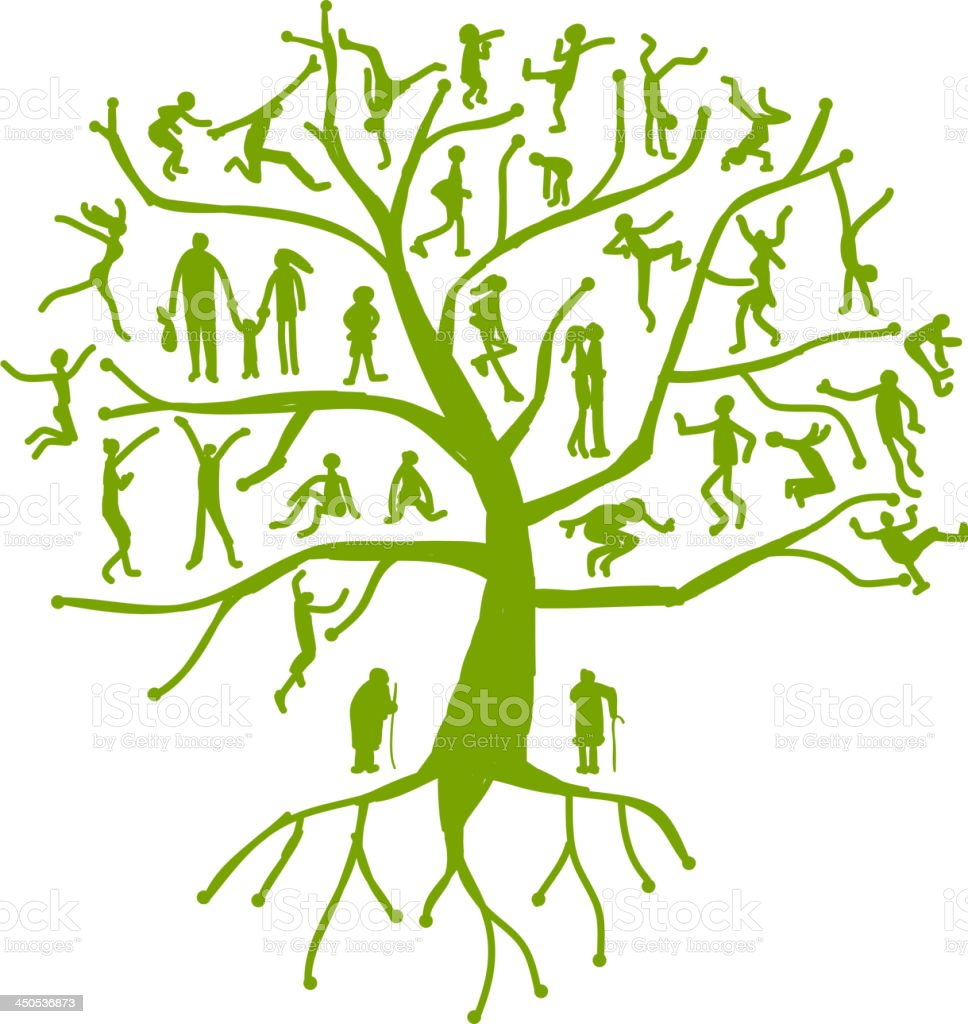 Family tree, relatives, people silhouettes royalty-free stock vector art