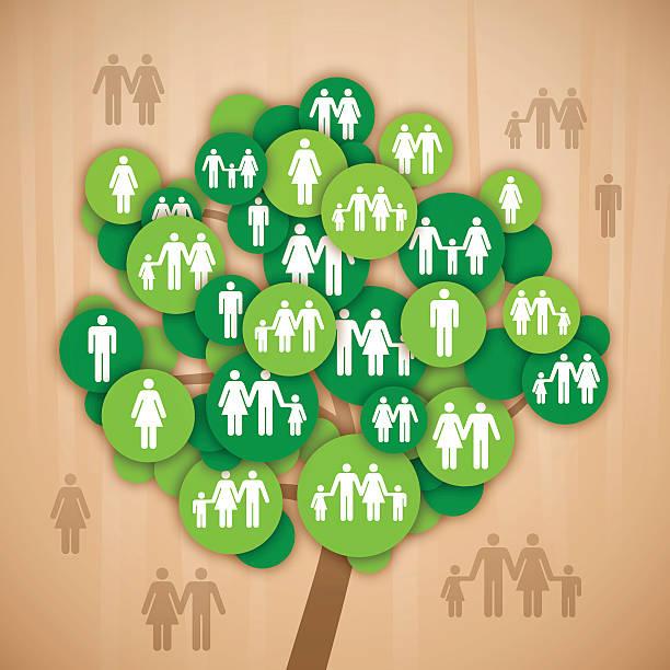 family tree - stammbäume stock-grafiken, -clipart, -cartoons und -symbole