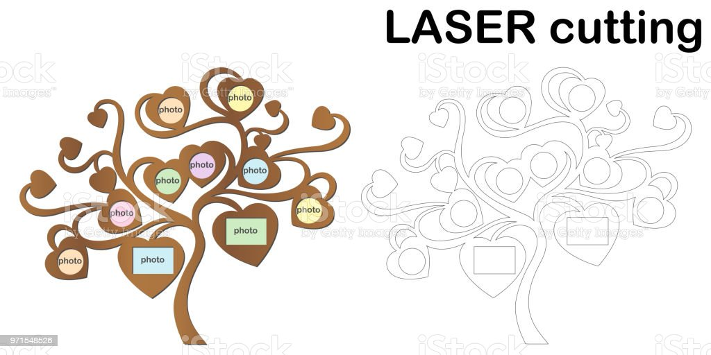 Family tree with photo frames for laser cutting. Collage of photo frames. Template laser cutting machine for wood and metal vector art illustration