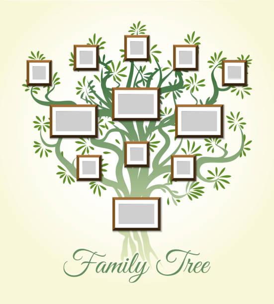 stammbaum mit foto-rahmen-vektor-illustration. eltern und kinder bilder, dynastie der generationen - stammbäume stock-grafiken, -clipart, -cartoons und -symbole