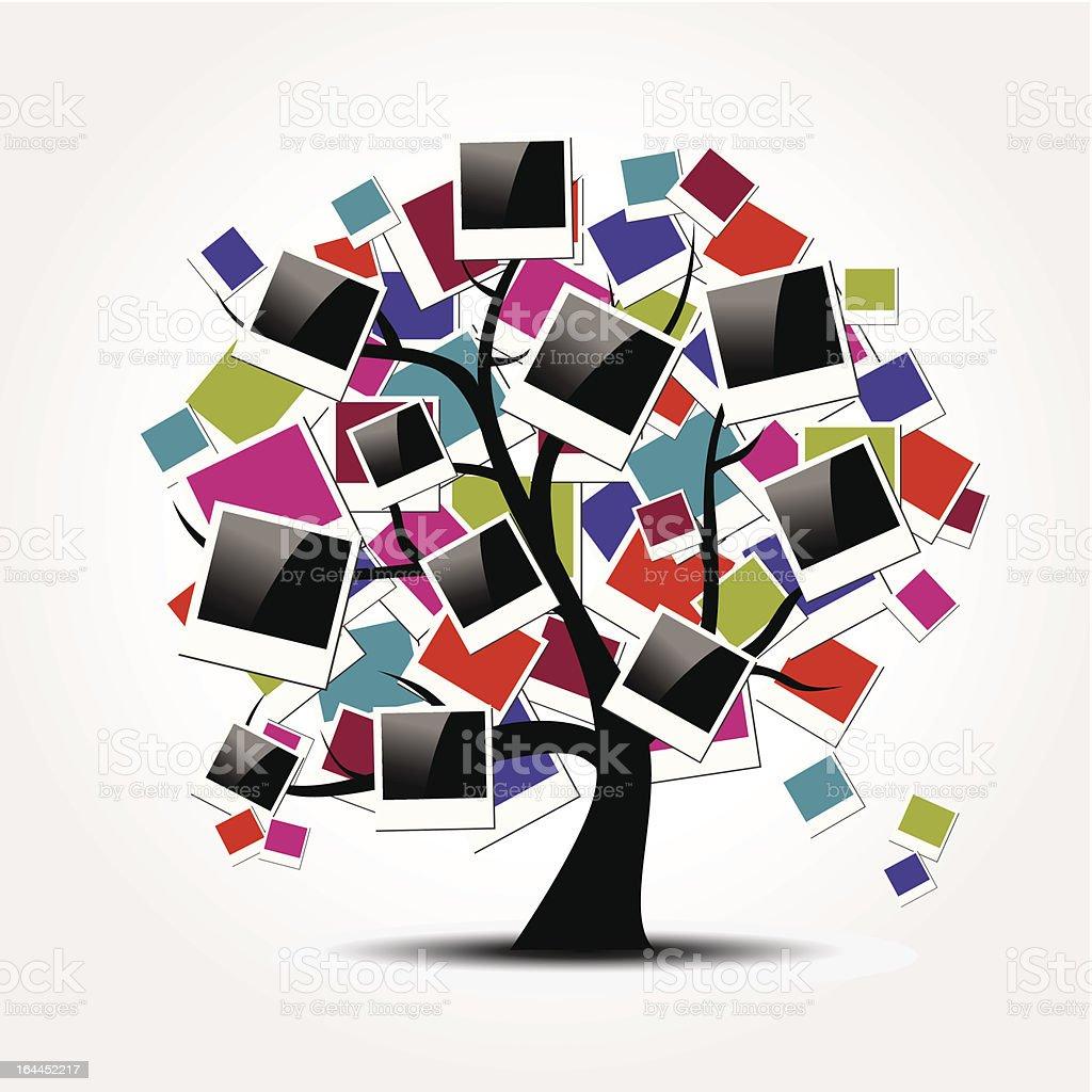 Family tree with polaroid photo frame royalty-free stock vector art