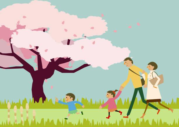 ilustrações de stock, clip art, desenhos animados e ícones de a family trekking. spring landscape. image of spring. cherry blossoms and family. - cherry blossoms